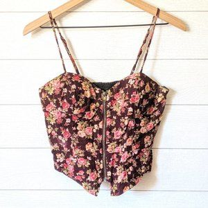Forever 21 Floral Corduroy Corset M